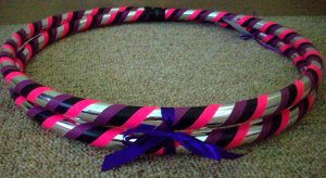 Metallic Silver Collapsible Hula Hoop with Pink Purple & Black